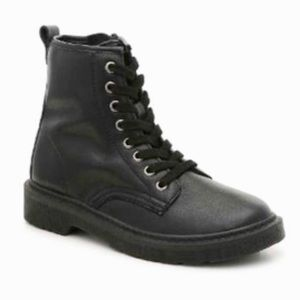 🎉🎈HP🥳❤️STEVE MADDEN Black Leather Combat Boots